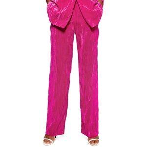 Topshop Crinkled Velvet Trouser - Hot Pink/Magenta